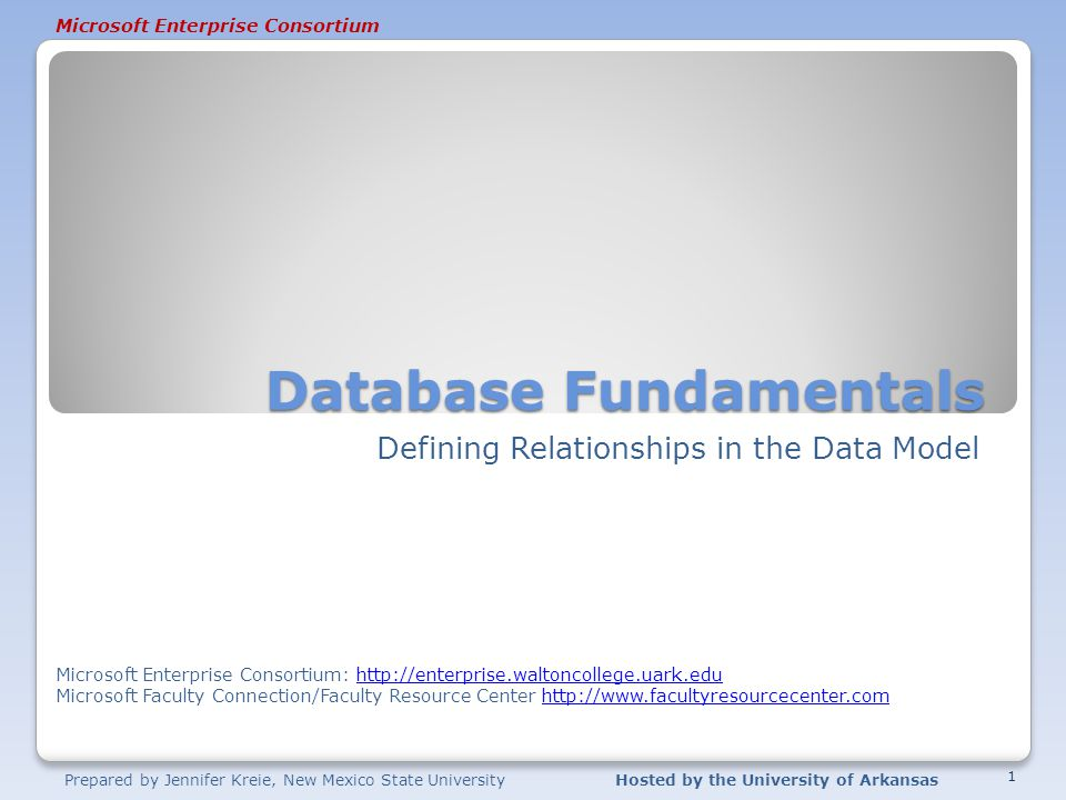 Microsoft Enterprise Consortium Prepared by Jennifer Kreie, New Mexico State UniversityHosted by the University of Arkansas Database Fundamentals Defi