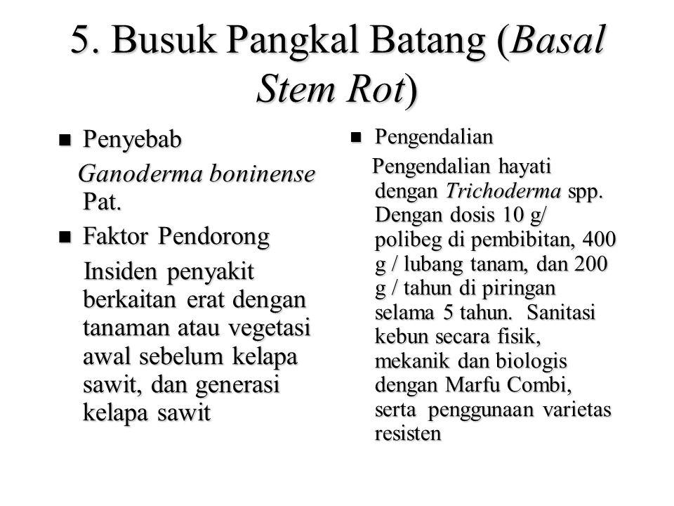5.Busuk Pangkal Batang (Basal Stem Rot) Penyebab Penyebab Ganoderma boninense Pat.