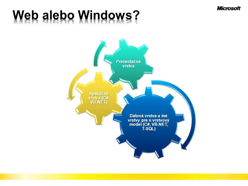 Dátová vrstva a iné vrstvy pre n vrstvový model (C#, VB.NET, T-SQL) Aplikačná vrstva (C#, VB.NET) Prezentačná vrstva