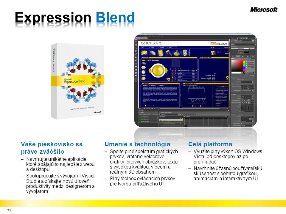 33 Vaše pieskovisko sa práve zväčšilo –Navrhujte unikátne aplikácie, ktoré spájajú to najlepšie z webu a desktopu –Spolupracujte s vývojarmi Visual Studia a získajte novú úroveň produktivity medzi designerom a vývojarom Umenie a technológia –Spojte plné spektrum grafických prvkov, vrátane vektorovej grafiky, bitových obrázkov, textu s vysokou kvalitou, vídeom a reálnym 3D obsahom –Plný toolbox ovládacich prvkov pre tvorbu príťažlivého UI Celá platforma –Využite plný výkon OS Windows Vista, od desktopov až po prehliadač –Navrhnite úžasnú používateľskú skúsenosť s bohatou grafikou, animáciami a interaktívnym UI