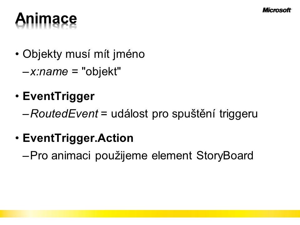 Objekty musí mít jméno –x:name = objekt EventTrigger –RoutedEvent = událost pro spuštění triggeru EventTrigger.Action –Pro animaci použijeme element StoryBoard
