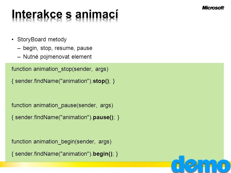 StoryBoard metody –begin, stop, resume, pause –Nutné pojmenovat element function animation_stop(sender, args) { sender.findName( animation ).stop(); } function animation_pause(sender, args) { sender.findName( animation ).pause(); } function animation_begin(sender, args) { sender.findName( animation ).begin(); }