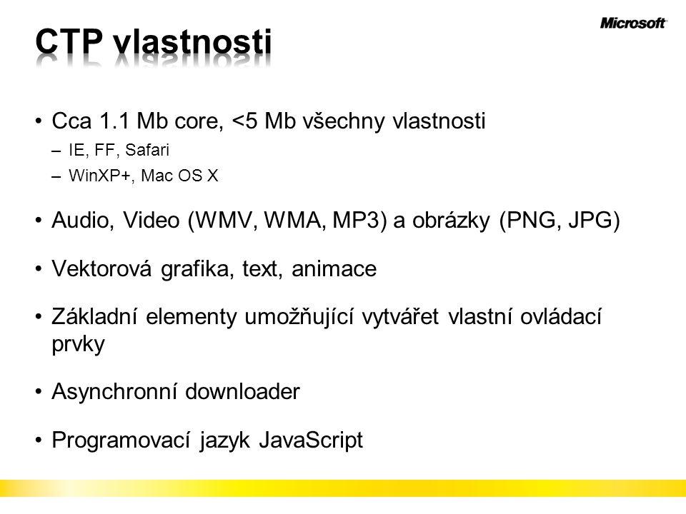 Cca 1.1 Mb core, <5 Mb všechny vlastnosti –IE, FF, Safari –WinXP+, Mac OS X Audio, Video (WMV, WMA, MP3) a obrázky (PNG, JPG) Vektorová grafika, text, animace Základní elementy umožňující vytvářet vlastní ovládací prvky Asynchronní downloader Programovací jazyk JavaScript