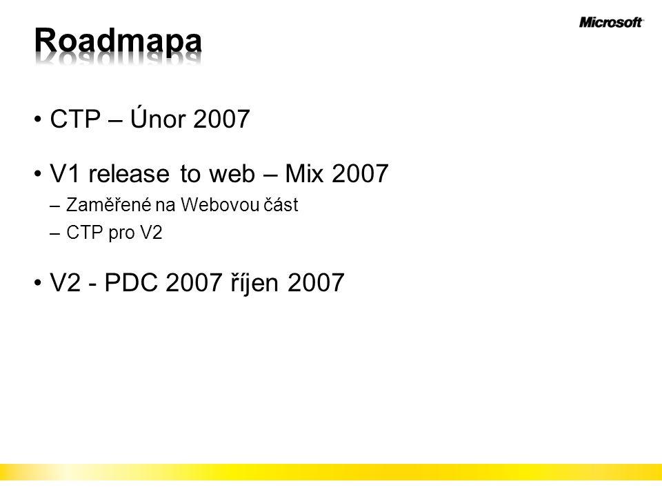 CTP – Únor 2007 V1 release to web – Mix 2007 –Zaměřené na Webovou část –CTP pro V2 V2 - PDC 2007 říjen 2007