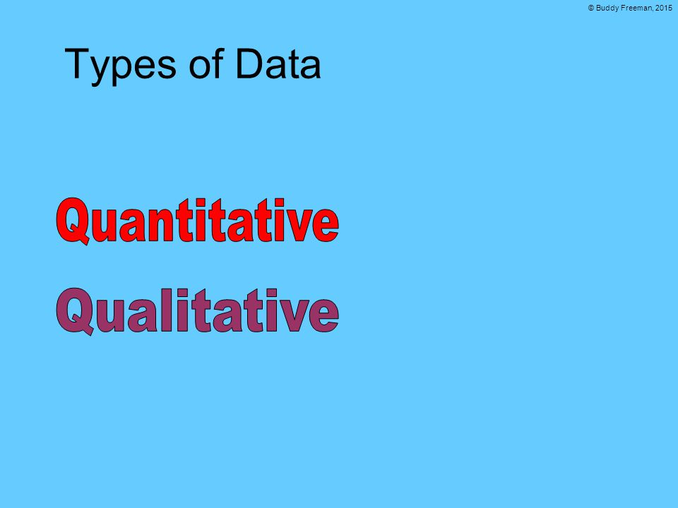 © Buddy Freeman, 2015 Types of Data
