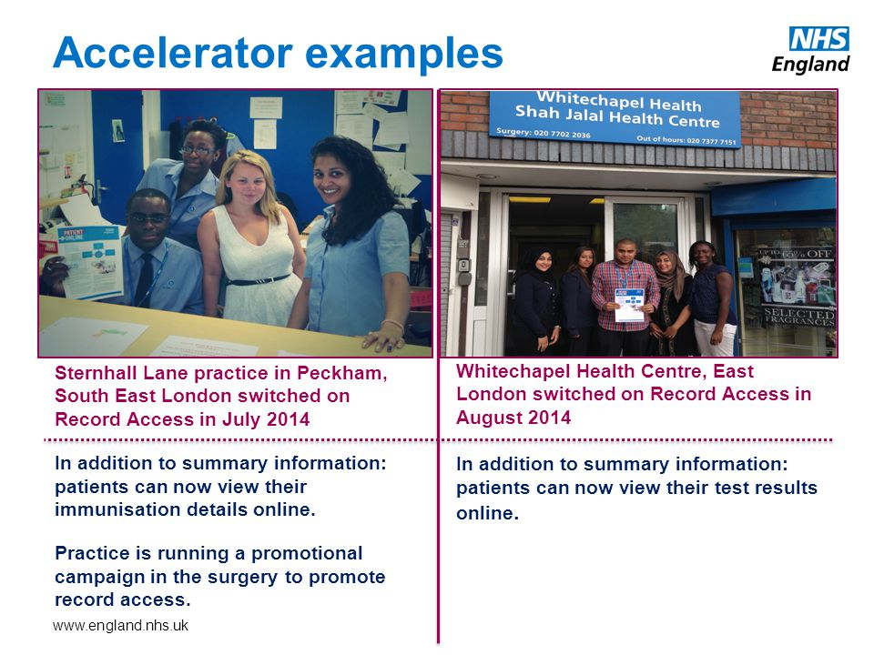 Accelerator examples Sternhall Lane practice in Peckham, South East London switched on Record Access in July 2014 In addition to summary information: patients can now view their immunisation details online.