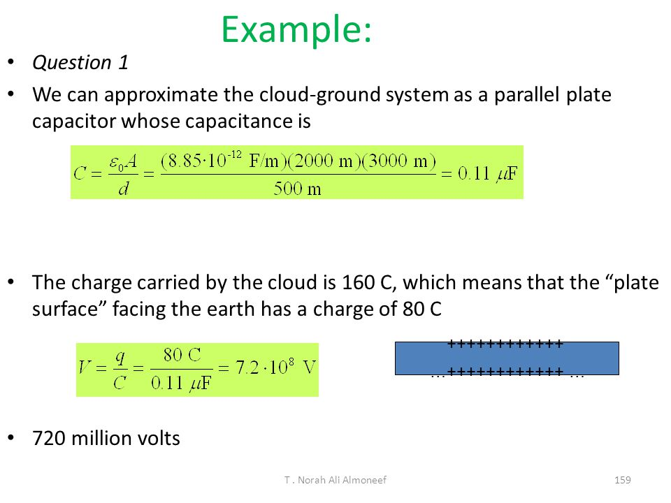 T. Norah Ali Almoneef 158 Example: Thundercloud Suppose a thundercloud with horizontal dimensions of 2.0 km by 3.0 km hovers over a flat area, at an a