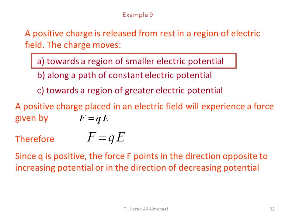 T. Norah Ali Almoneef31 Electric Field The electric force on a positive test charge q 0 at a distance r from a single charge q : The electric field at
