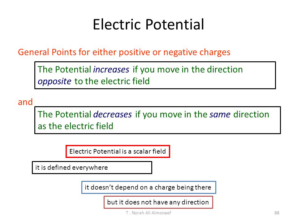 T. Norah Ali Almoneef87 If you want to move in a region of electric field without changing your electric potential energy. You would move a)Parallel t