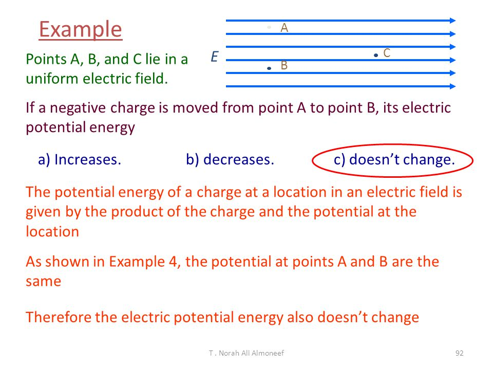 T. Norah Ali Almoneef91 Compare the potential differences between points A and C and points B and C. a) V AC > V BC b) V AC = V BC c) V AC < V BC E A