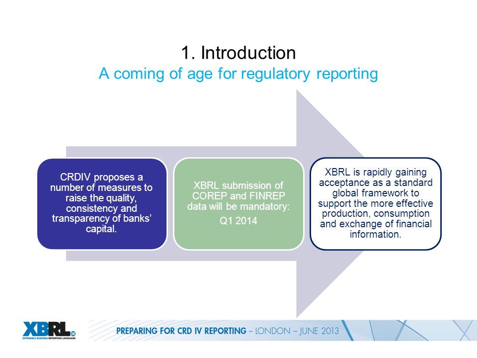 1. Introduction A coming of age for regulatory reporting CRDIV proposes a number of measures to raise the quality, consistency and transparency of ban