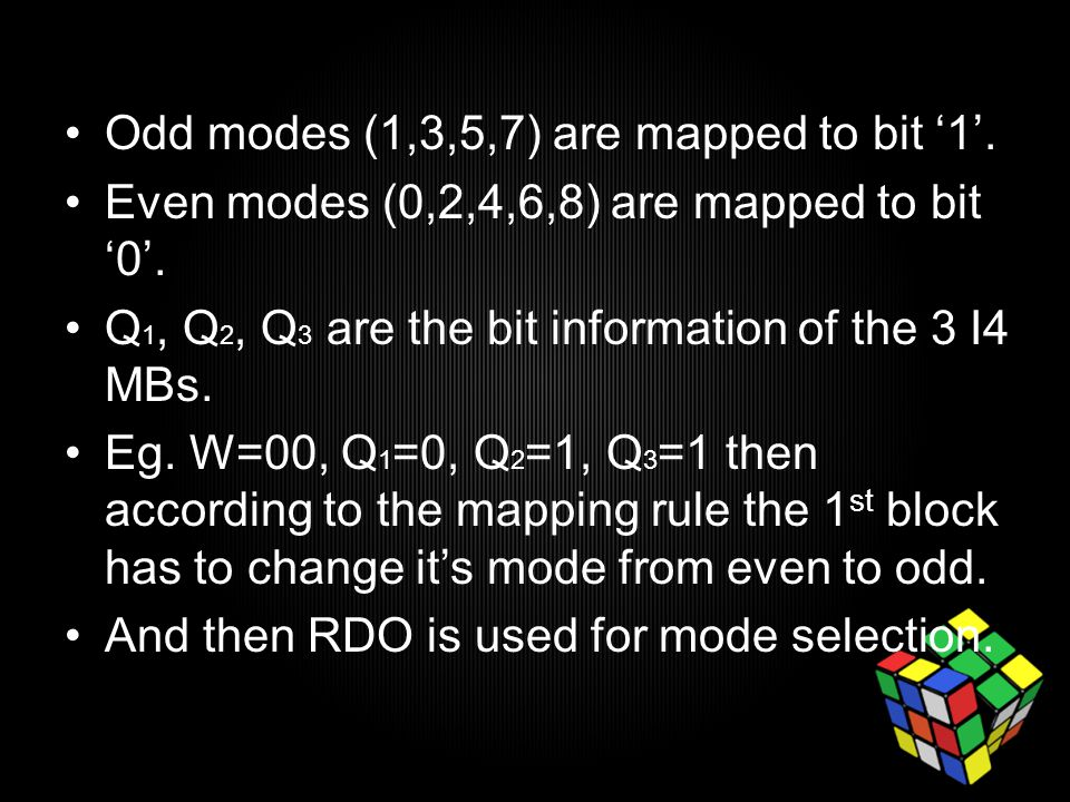 Odd modes (1,3,5,7) are mapped to bit '1'. Even modes (0,2,4,6,8) are mapped to bit '0'.