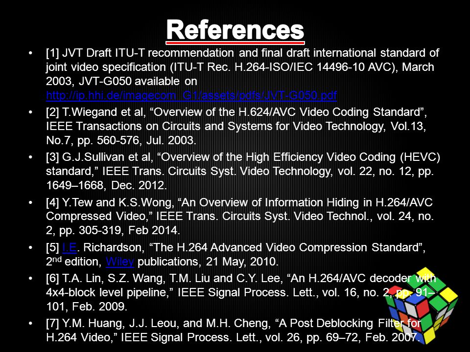 [1] JVT Draft ITU-T recommendation and final draft international standard of joint video specification (ITU-T Rec.