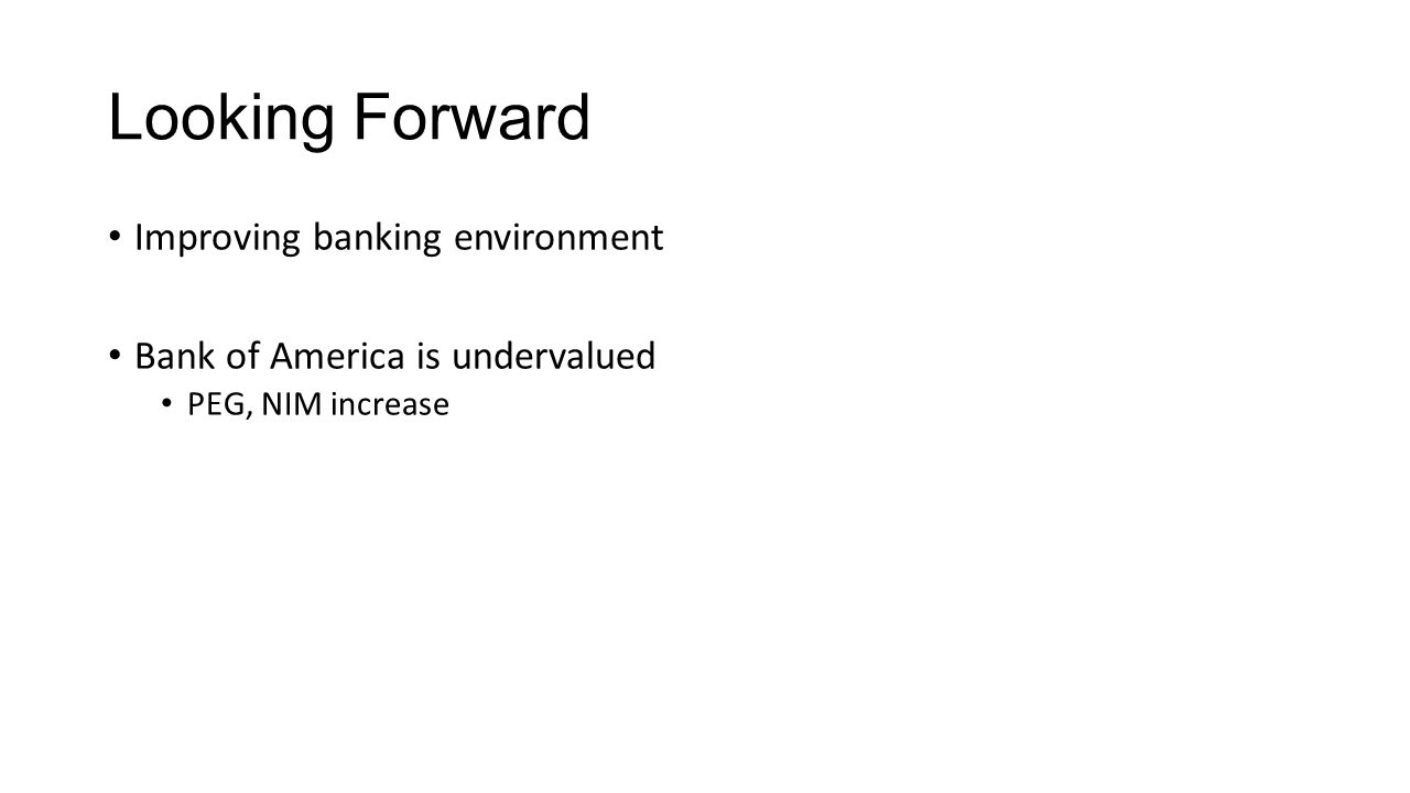 Looking Forward Improving banking environment Bank of America is undervalued PEG, NIM increase