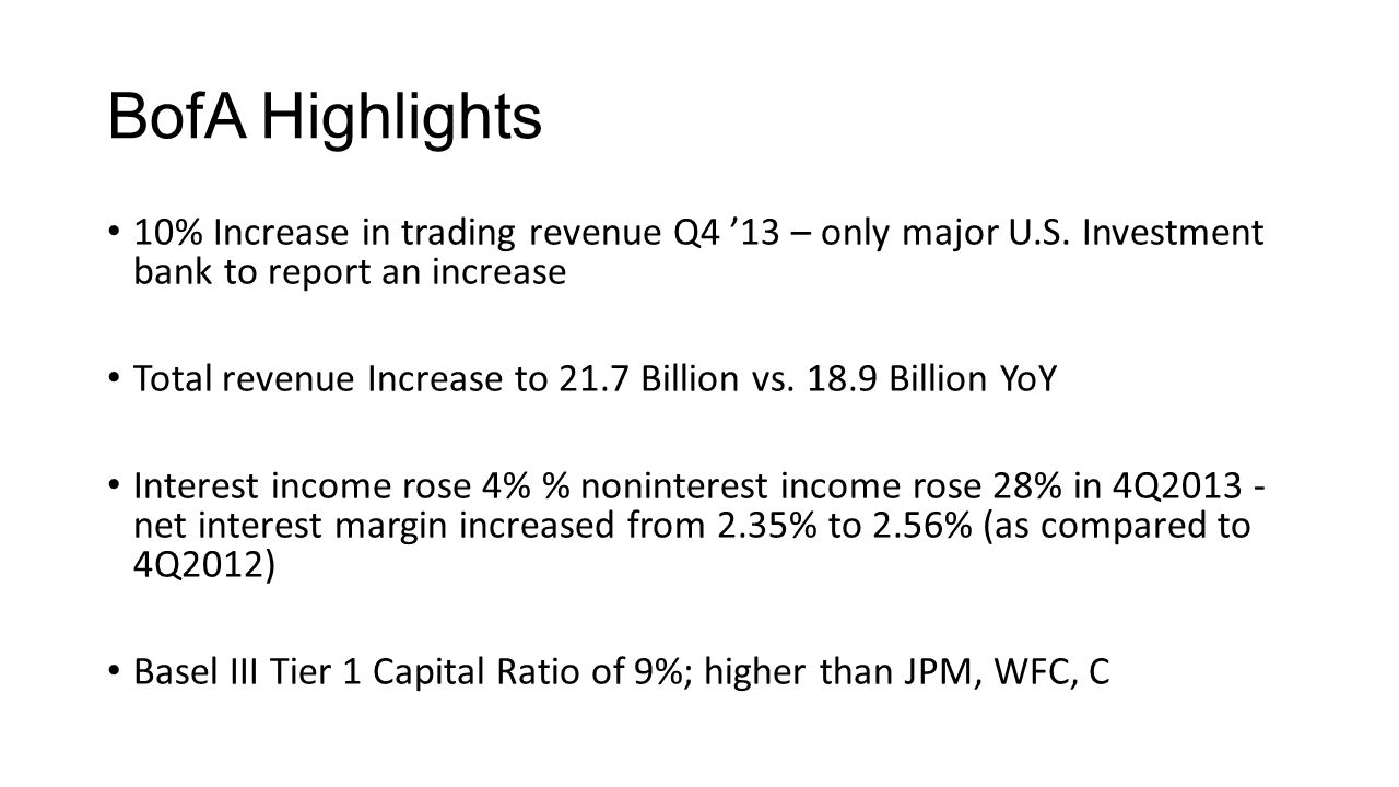 BofA Highlights 10% Increase in trading revenue Q4 '13 – only major U.S.