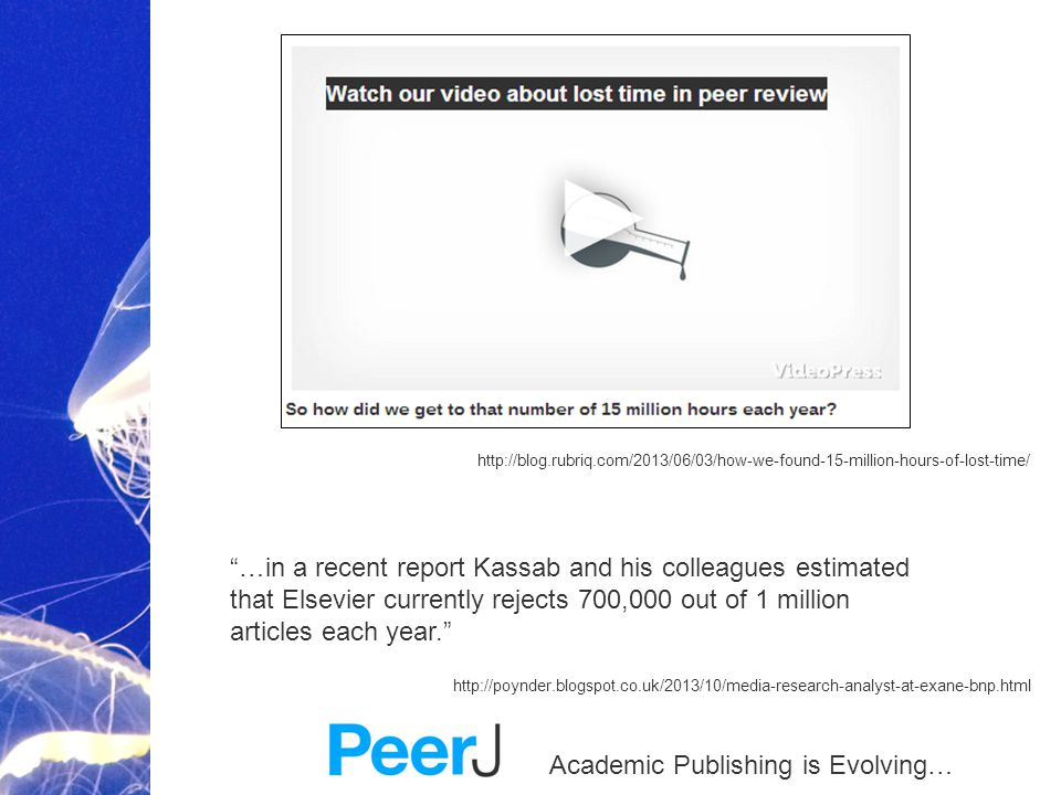 Academic Publishing is Evolving… http://blog.rubriq.com/2013/06/03/how-we-found-15-million-hours-of-lost-time/ …in a recent report Kassab and his colleagues estimated that Elsevier currently rejects 700,000 out of 1 million articles each year. http://poynder.blogspot.co.uk/2013/10/media-research-analyst-at-exane-bnp.html