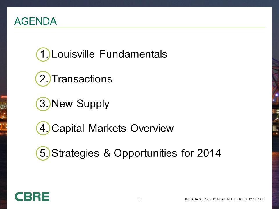2 INDIANAPOLIS-CINCINNATI MULTI-HOUSING GROUP AGENDA 1. Louisville Fundamentals 2. Transactions 3. New Supply 4. Capital Markets Overview 5. Strategie