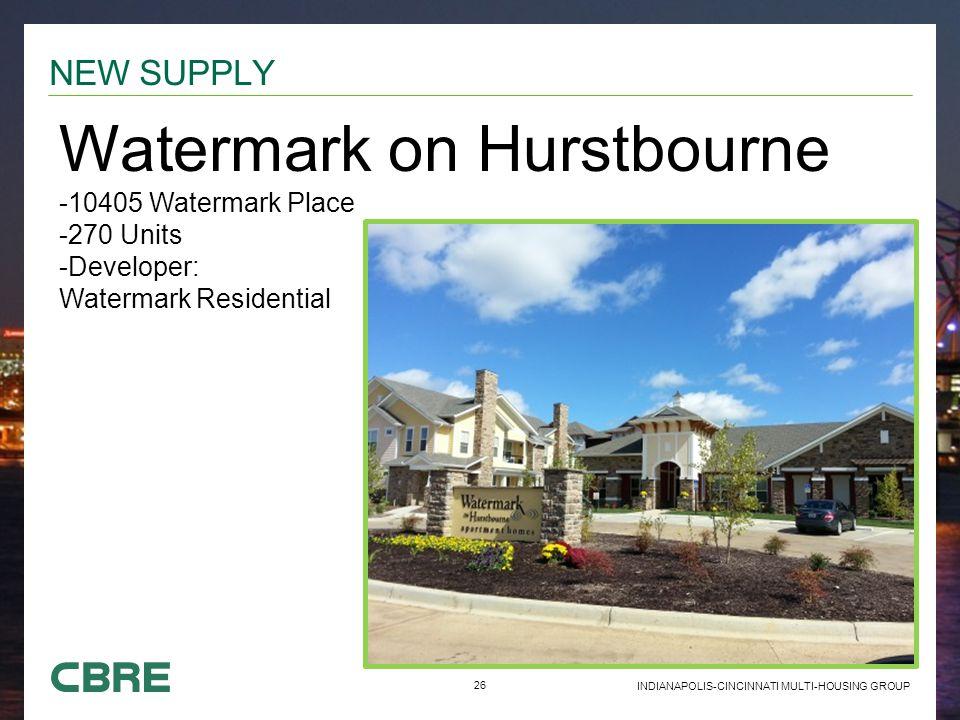26 INDIANAPOLIS-CINCINNATI MULTI-HOUSING GROUP NEW SUPPLY Watermark on Hurstbourne -10405 Watermark Place -270 Units -Developer: Watermark Residential