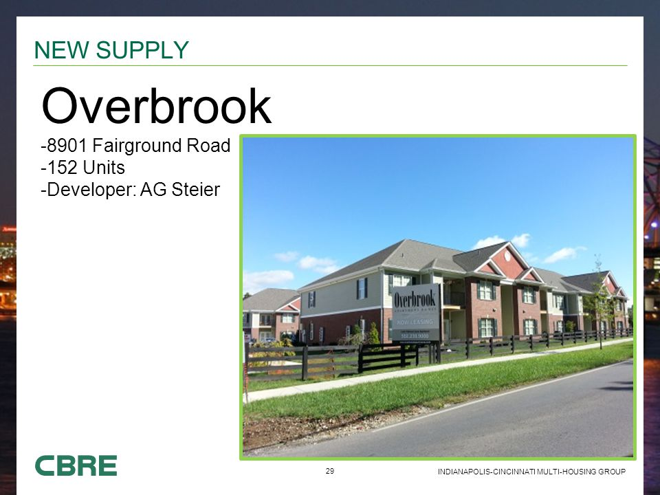 29 INDIANAPOLIS-CINCINNATI MULTI-HOUSING GROUP NEW SUPPLY Overbrook -8901 Fairground Road -152 Units -Developer: AG Steier