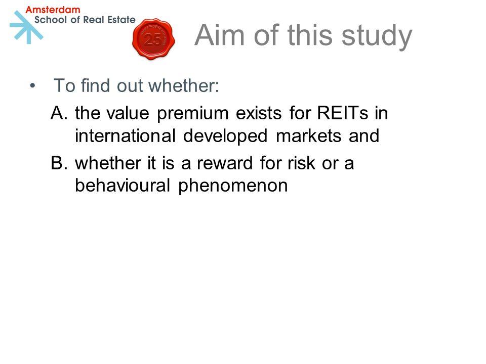 Conclusion International developed REITs exhibit a significant value premium of 10.3% (1993-2013) compared to a 8.3% premium Ooi et al.