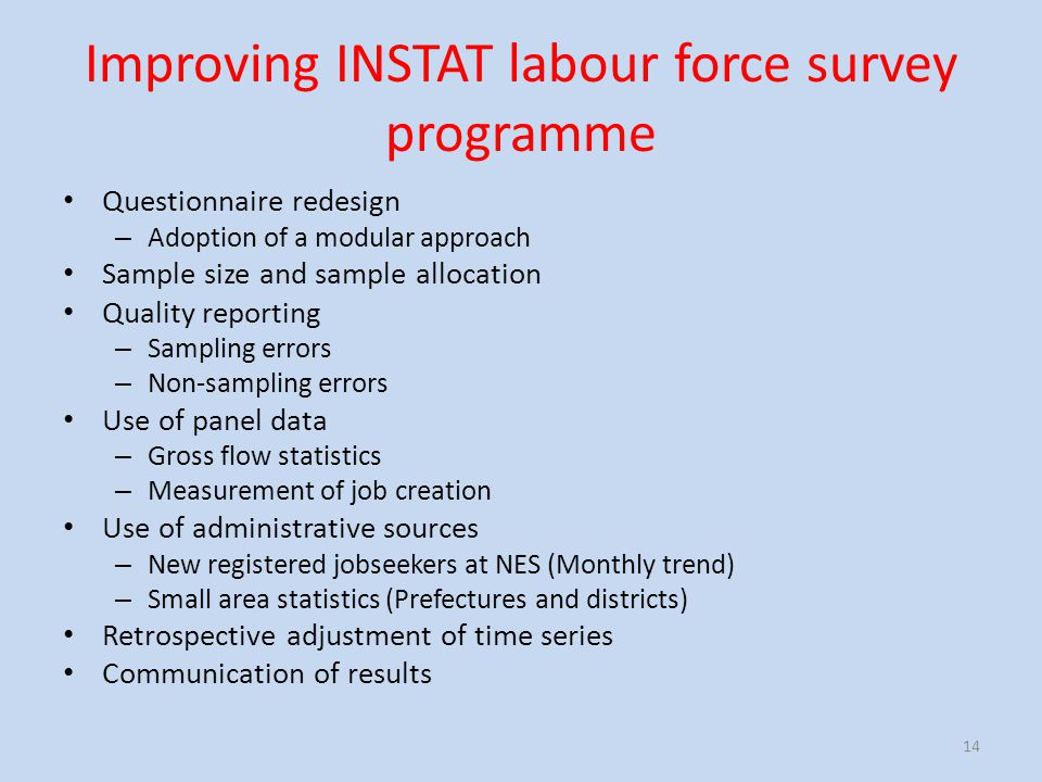 Improving INSTAT labour force survey programme Questionnaire redesign – Adoption of a modular approach Sample size and sample allocation Quality repor