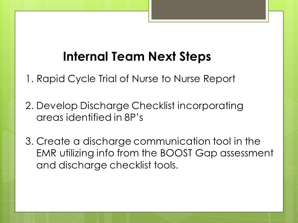 Internal Team Next Steps 1.Rapid Cycle Trial of Nurse to Nurse Report 2.