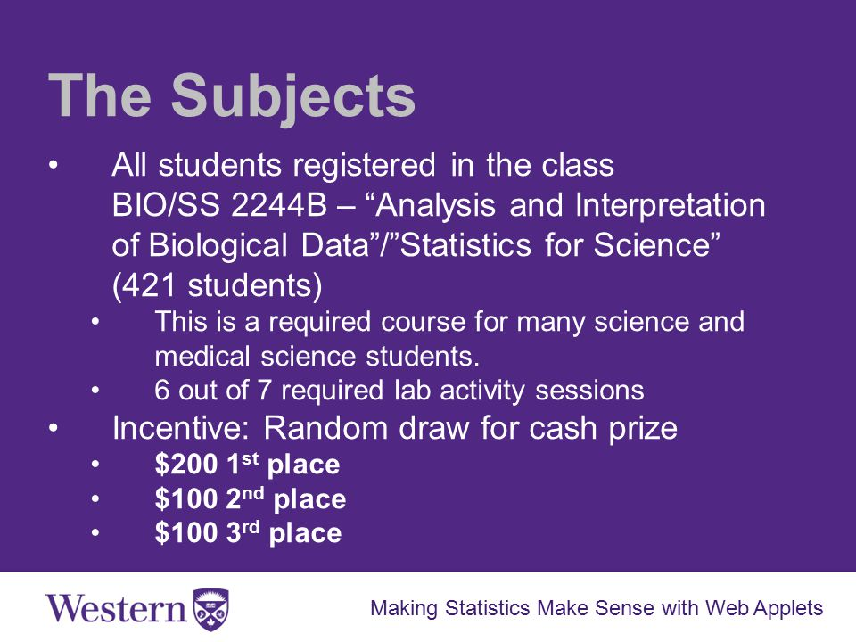 The Subjects All students registered in the class BIO/SS 2244B – Analysis and Interpretation of Biological Data / Statistics for Science (421 students) This is a required course for many science and medical science students.