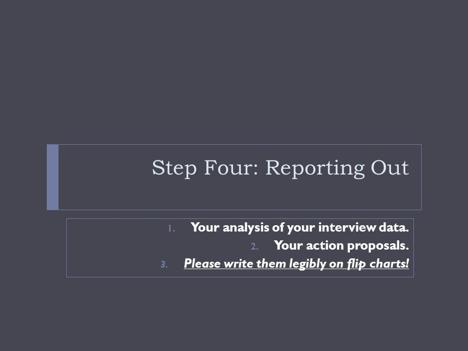 Step Four: Reporting Out 1.Your analysis of your interview data.