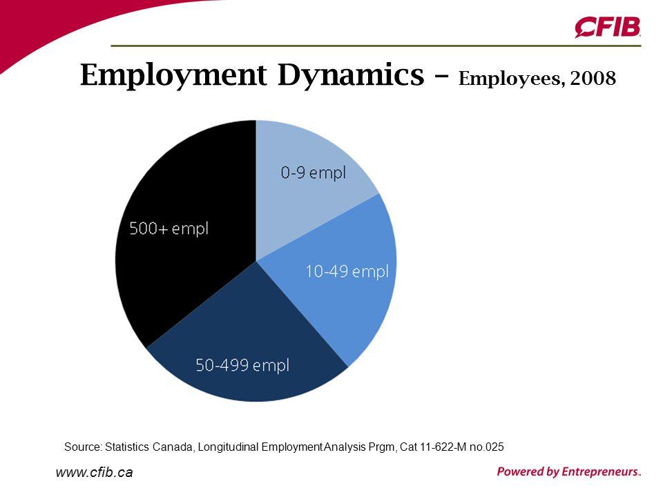 www.cfib.ca Employment Dynamics – Employees, 2008 Source: Statistics Canada, Longitudinal Employment Analysis Prgm, Cat 11-622-M no.025