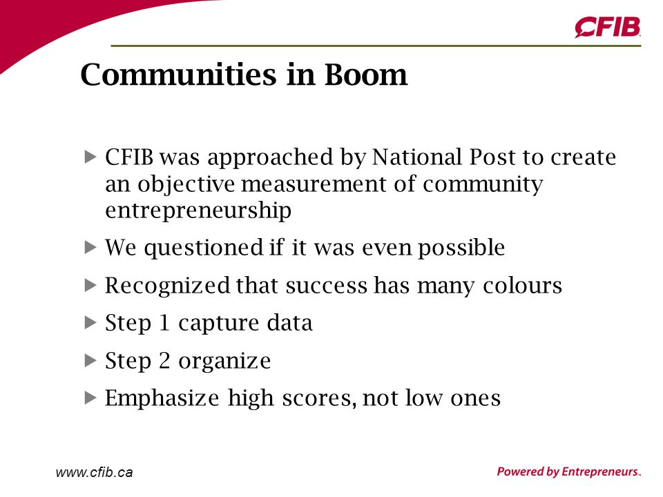 Communities in Boom CFIB was approached by National Post to create an objective measurement of community entrepreneurship We questioned if it was even possible Recognized that success has many colours Step 1 capture data Step 2 organize Emphasize high scores, not low ones