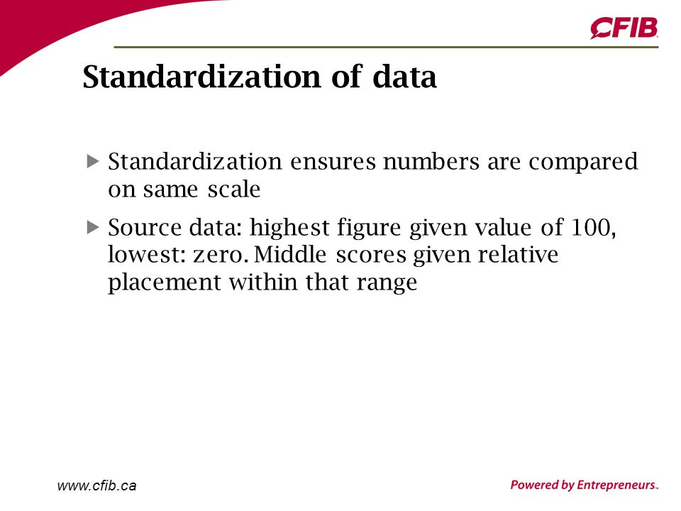 Standardization of data Standardization ensures numbers are compared on same scale Source data: highest figure given value of 100, lowest: zero.