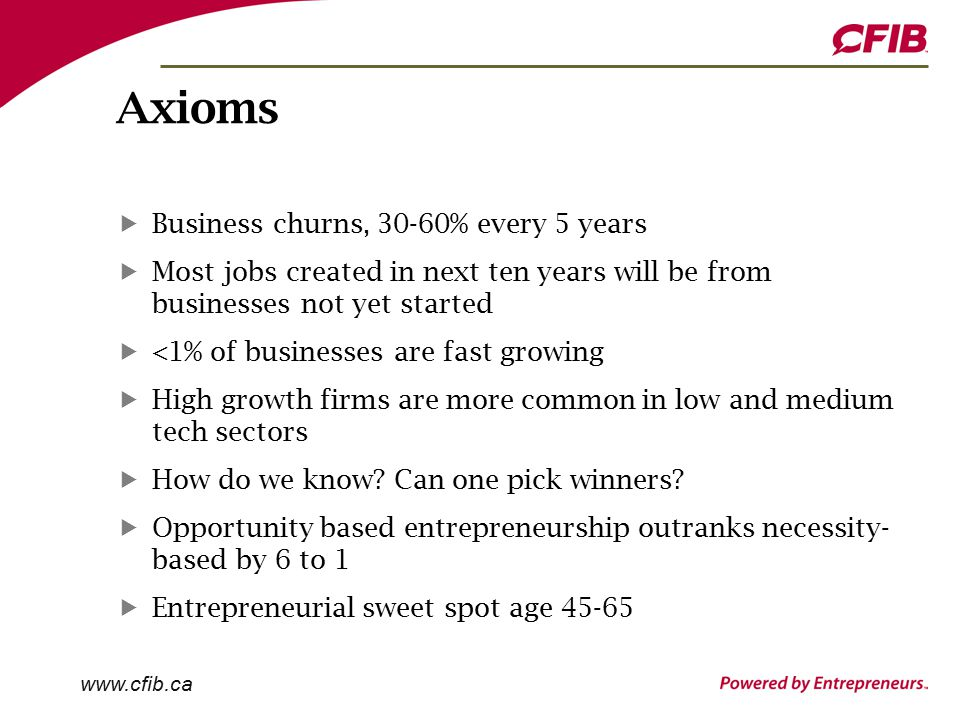Axioms Business churns, 30-60% every 5 years Most jobs created in next ten years will be from businesses not yet started <1% of businesses are fast growing High growth firms are more common in low and medium tech sectors How do we know.