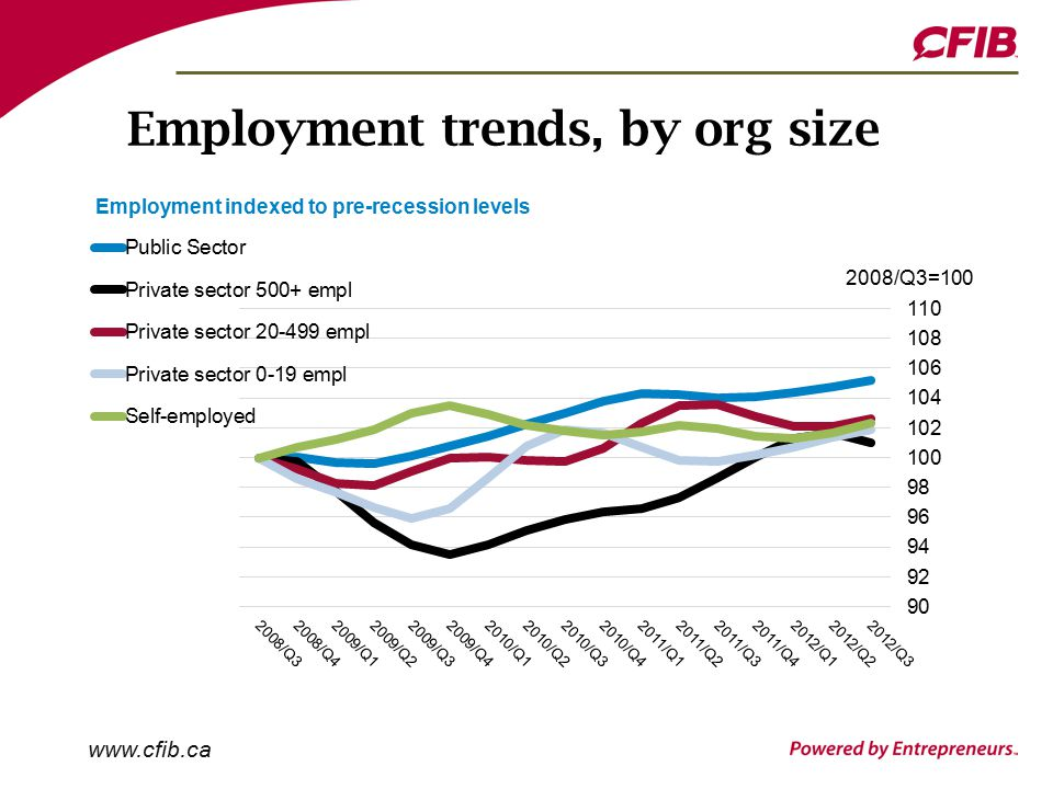 Employment trends, by org size
