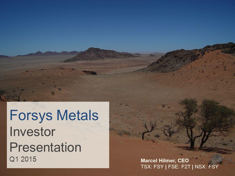 Forsys Metals Investor Presentation Q1 2015 Marcel Hilmer, CEO TSX: FSY   FSE: F2T   NSX: FSY
