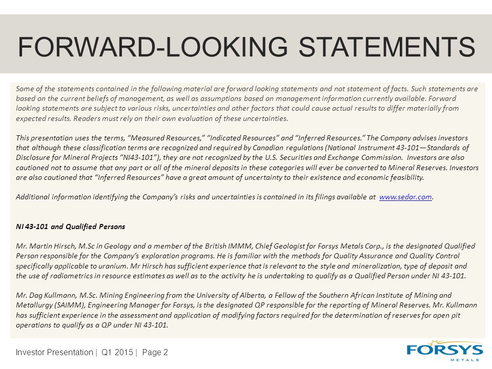 FORWARD-LOOKING STATEMENTS Investor Presentation | Q1 2015 | Page 2 Some of the statements contained in the following material are forward looking statements and not statement of facts.