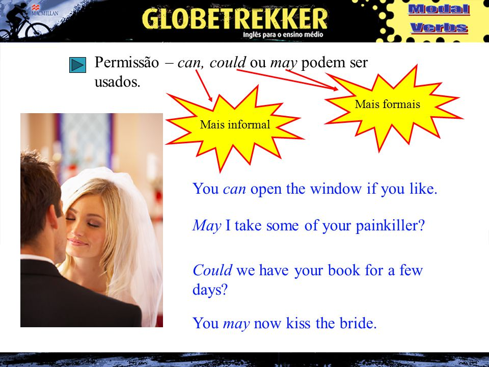 Permissão – can, could ou may podem ser usados. You can open the window if you like.