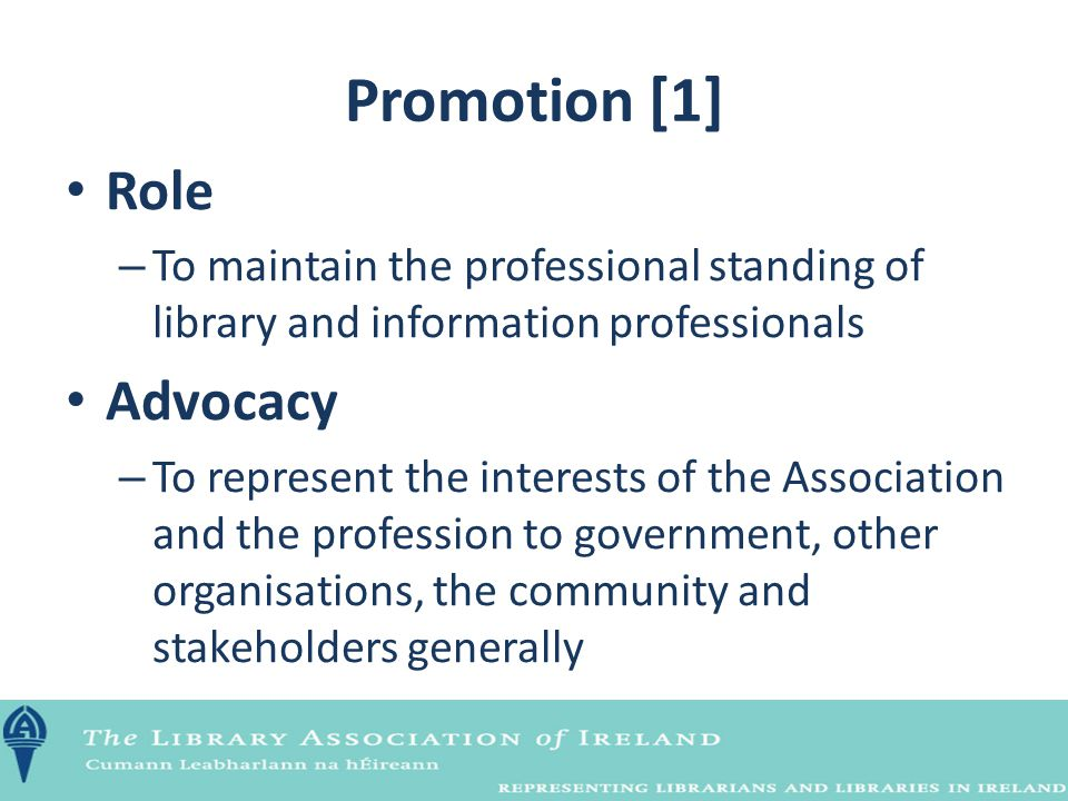 Promotion [1] Role – To maintain the professional standing of library and information professionals Advocacy – To represent the interests of the Assoc