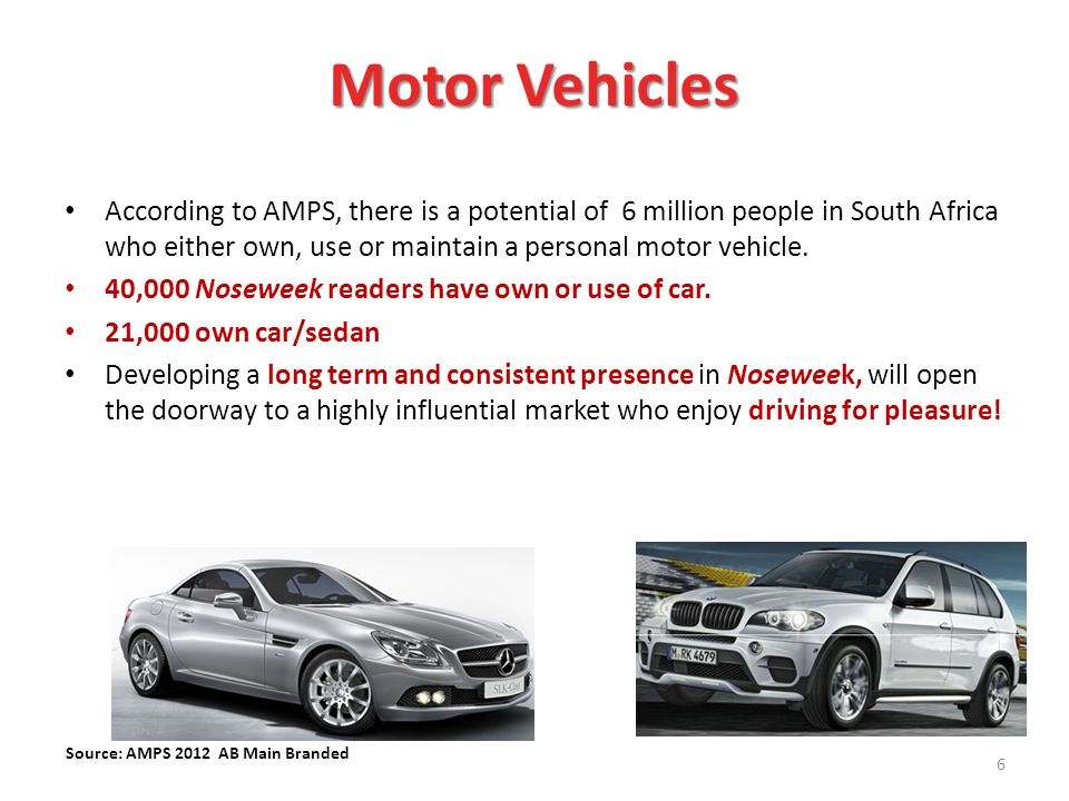 According to AMPS, there is a potential of 6 million people in South Africa who either own, use or maintain a personal motor vehicle.