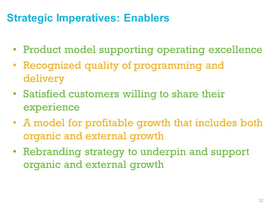 12 Strategic Imperatives: Enablers Product model supporting operating excellence Recognized quality of programming and delivery Satisfied customers wi