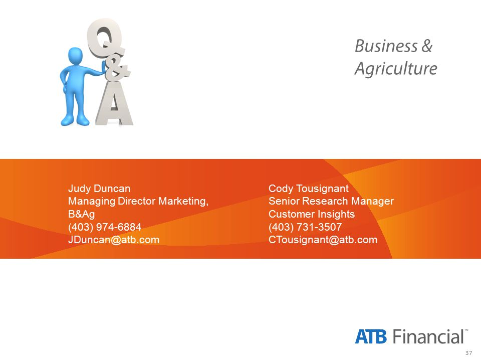 37 Judy Duncan Managing Director Marketing, B&Ag (403) 974-6884 JDuncan@atb.com Cody Tousignant Senior Research Manager Customer Insights (403) 731-3507 CTousignant@atb.com
