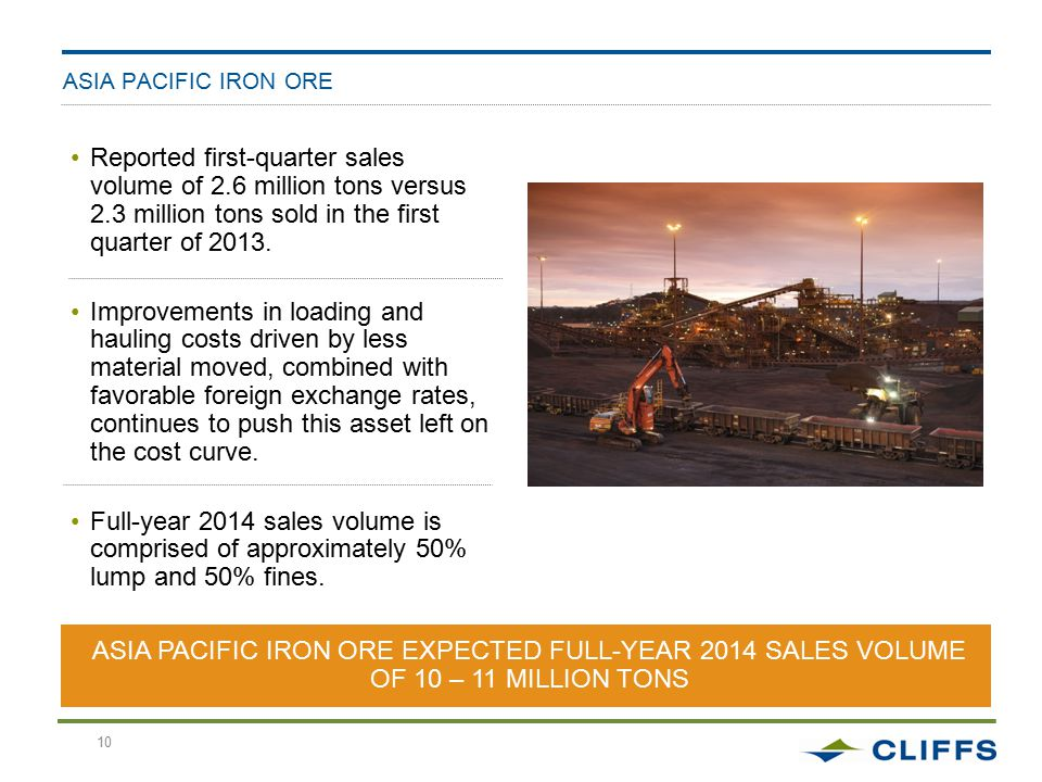 10 ASIA PACIFIC IRON ORE Reported first-quarter sales volume of 2.6 million tons versus 2.3 million tons sold in the first quarter of 2013.
