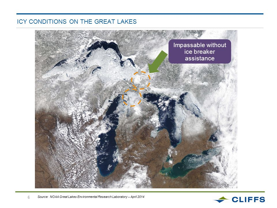 6 ICY CONDITIONS ON THE GREAT LAKES Impassable without ice breaker assistance Source: NOAA Great Lakes Environmental Research Laboratory – April 2014