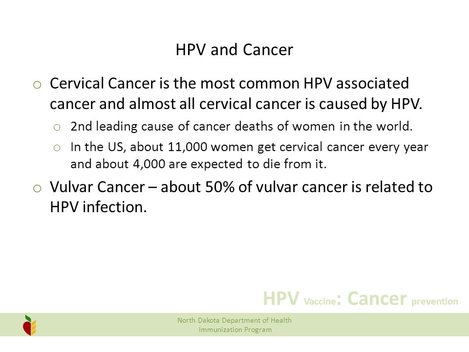 North Dakota Department of Health Immunization Program HPV Vaccine : Cancer prevention HPV and Cancer o Vaginal Cancer – about 65% of vaginal cancer is related to HPV infection.