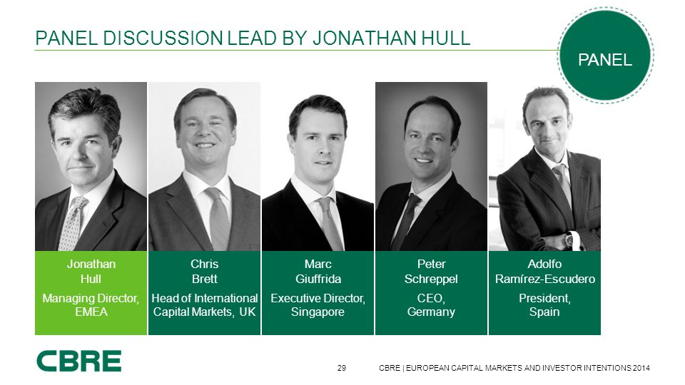 29 CBRE | EUROPEAN CAPITAL MARKETS AND INVESTOR INTENTIONS 2014 PANEL DISCUSSION LEAD BY JONATHAN HULL Marc Giuffrida Executive Director, Singapore Ad