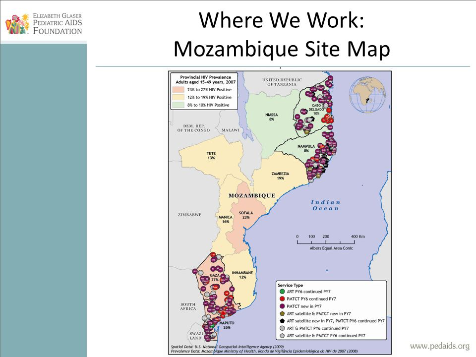 Where We Work: Mozambique Site Map