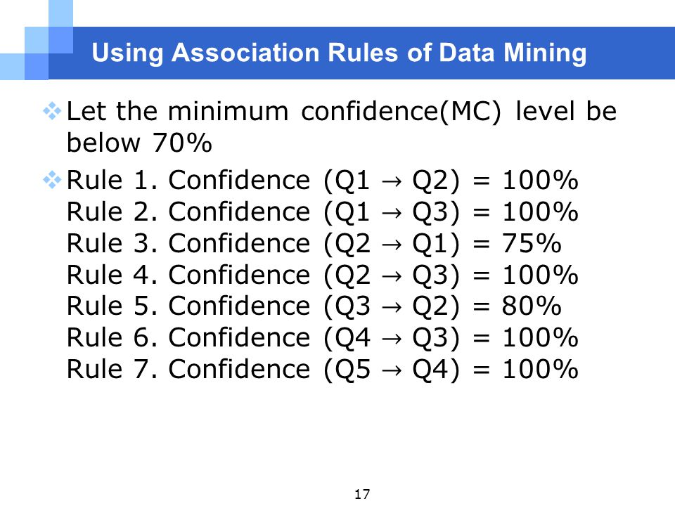 Using Association Rules of Data Mining 17