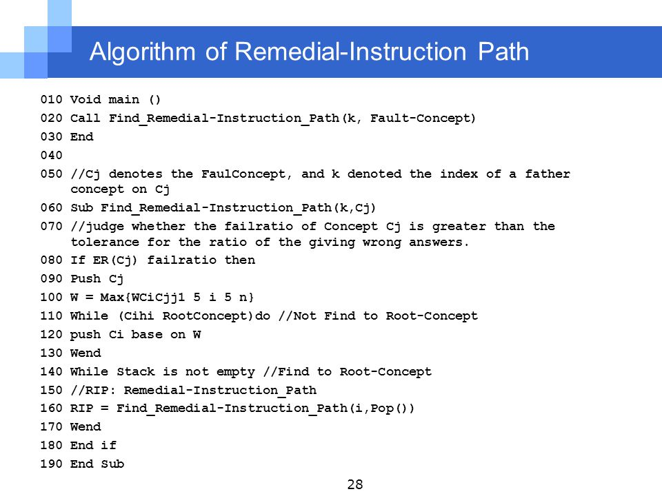 Algorithm of Remedial-Instruction Path 010 Void main () 020 Call Find_Remedial-Instruction_Path(k, Fault-Concept) 030 End 040 050 //Cj denotes the FaulConcept, and k denoted the index of a father concept on Cj 060 Sub Find_Remedial-Instruction_Path(k,Cj) 070 //judge whether the failratio of Concept Cj is greater than the tolerance for the ratio of the giving wrong answers.