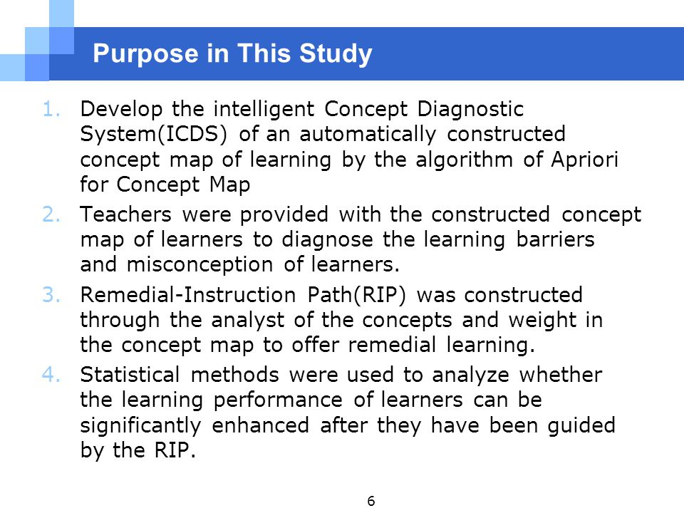 Purpose in This Study 1.Develop the intelligent Concept Diagnostic System(ICDS) of an automatically constructed concept map of learning by the algorithm of Apriori for Concept Map 2.Teachers were provided with the constructed concept map of learners to diagnose the learning barriers and misconception of learners.