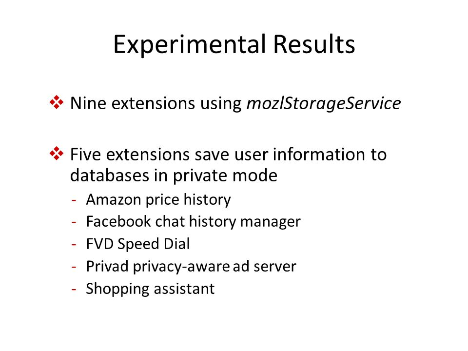 Experimental Results  Nine extensions using mozlStorageService  Five extensions save user information to databases in private mode -Amazon price history -Facebook chat history manager -FVD Speed Dial -Privad privacy-aware ad server -Shopping assistant
