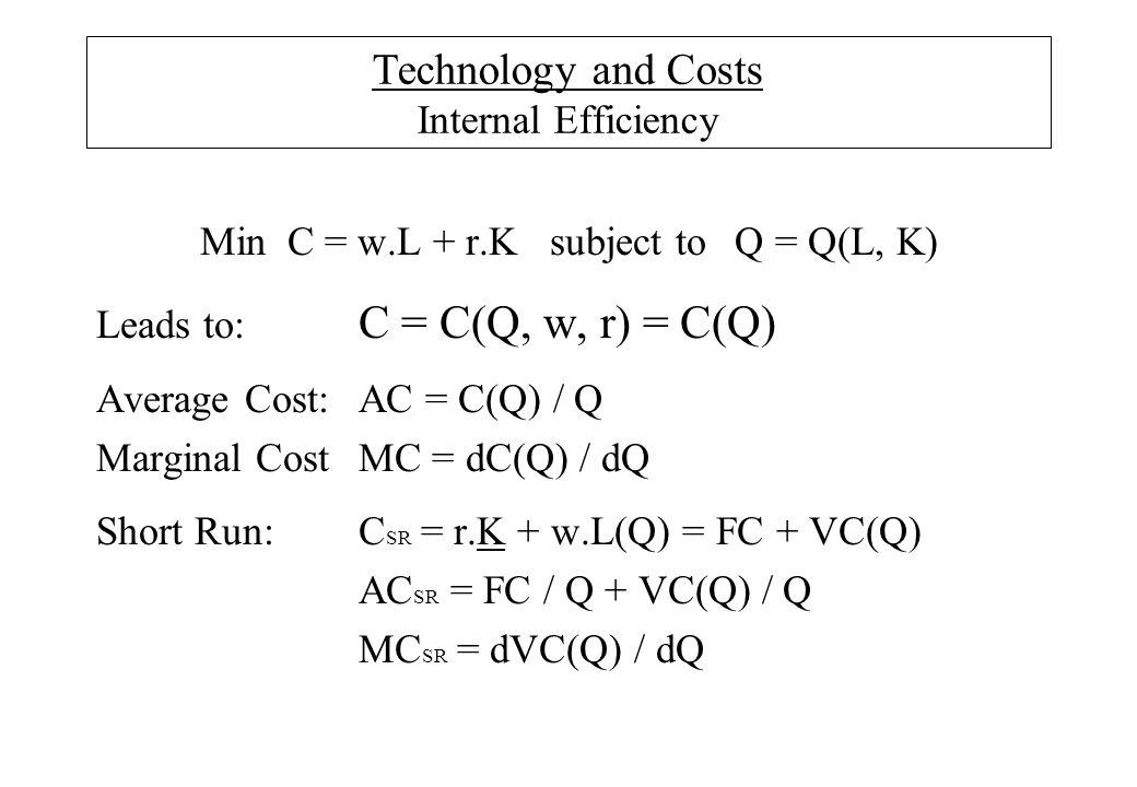 Technology and Costs Internal Efficiency MinC = w.L + r.Ksubject to Q = Q(L, K) Leads to: C = C(Q, w, r) = C(Q) Average Cost:AC = C(Q) / Q Marginal CostMC = dC(Q) / dQ Short Run:C SR = r.K + w.L(Q) = FC + VC(Q) AC SR = FC / Q + VC(Q) / Q MC SR = dVC(Q) / dQ